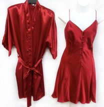 237216181d Fredericks Of Hollywood Sz L Ruby Red Satin Robe  amp  Chemise Babydoll  Ling.
