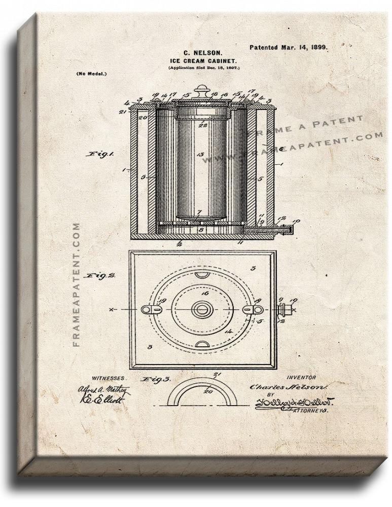 Primary image for Ice Cream Cabinet Patent Print Old Look on Canvas