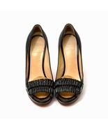 Auth Versace Black Open Toe Slipon Pumps Slim Heels - $279.57