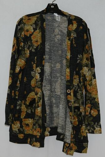 ZigZag Stripe Brand Black Floral Peek A Boo Button Womens Cardigan Size XL