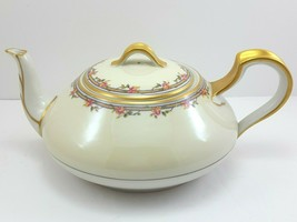 Haviland & Co Schleiger 298a Teapot 3 Cup White Cream Pink Roses Limoges - $175.99