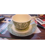 Vtg The Old Country Store Royal COFFEE CUP&SAUCER-GREEN & WHITE- INK WEL... - $17.32
