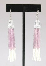 INC International Concepts Silver Tone Purple White Beaded Tassel Earrings NWT