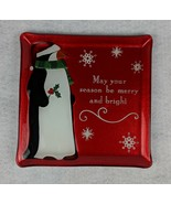 """Grasslands Road Penguin Christmas Plate """"May Your Season Be Merry and Br... - $16.82"""