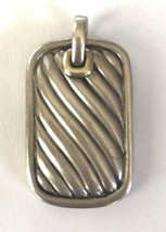 David Yurman Dog Tag Necklace in Sterling Silver & Gold - $247.45