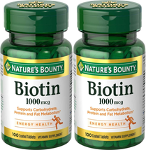 Nature's Bounty Biotin 1000 mcg, 100 Count (2 Pack) Supports Carbohydrate, Prote - $25.77