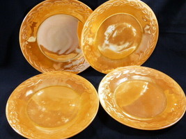 "Fire King Dinner Plates 9"" diameter Lot of 4 Peach color Lusterware oven... - $41.18"