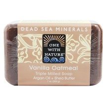 One With Nature Dead Sea Mineral Bar Soap Mild Exfoliating Vanilla Oatme... - $8.19