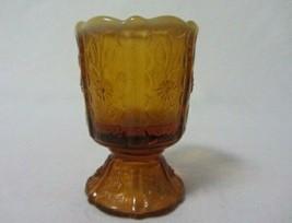 FENTON GLASS AMBER OPALESCENT PANELED DAISY TOOTHPICK HOLDER - $10.99