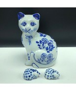 Cat figurine Flow blue delft cobalt kittens lot porcelain statue sculptu... - $61.92