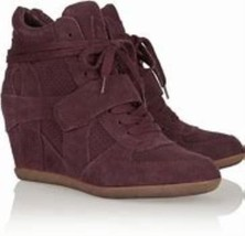 Ash Bowie Bordeaux Suede Wedge Sneakers Booties Womens Boots Size 37 - $147.19