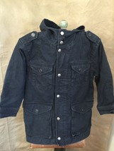 Gap Kids Cotton Canvas Lined Barn Coat Jacket S 6-7 Navy Blue Hooded Mid-Length - $24.03