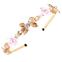 Golden Beads Diamond Rose Pattern Hair Accessories Headband Headdress