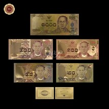 WR Colored Gold Thailand Banknote 20-50-100-500-1000 Baht Series Complet... - $13.43