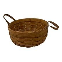"Vintage 1991 Longaberger 10"" Round Signed Basket With Leather Handles - $19.79"