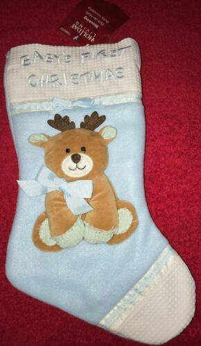 "Primary image for Christmas STOCKING BABY'S FIRST CHRISTMAS Blue 15"" Long Holiday Living Reindeer"