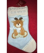 "Christmas STOCKING BABY'S FIRST CHRISTMAS Blue 15"" Long Holiday Living Reindeer - £8.71 GBP"