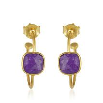 18k Yellow Gold Plated Silver Aventurine Hoop Earrings Women's Fashion Jewelry - $15.41
