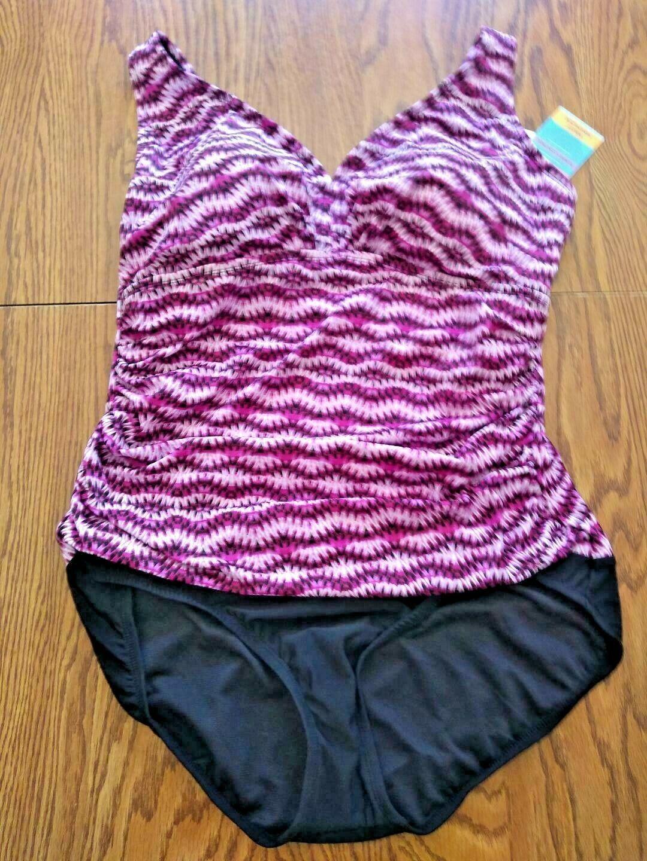 Swim Solutions Purple Vneck One Piece Swimwear Size 18