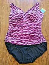 Swim Solutions Purple Vneck One Piece Swimwear Size 18 image 1