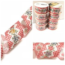Offray Wire Edge Wired Ribbon Lot 8 Floral Rose Gingham 1.5 1 1/2 W Ttl ... - $19.95