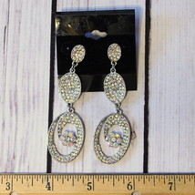 New old stock huge rhinestone drop dangle earrings silver tone - $19.79