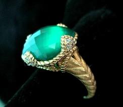 JUDITH RIPKA 14K GOLD CLAD STERLING SILVER GREEN GODDESS RING, SZ 10 w ... - $219.95