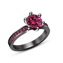 Round Cut Pink Sapphire Engagement Wedding Ring 14K Black Gold Finish 925 Silver - $76.99