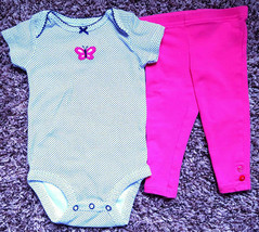 Girl's Size 6 M 3-6 Months 2 Pc Carter's White Navy Butterfy Top Pink & Leggings - $15.00