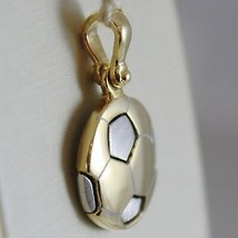 SOLID 18K WHITE & YELLOW GOLD SOCCER BALL PENDANT, SATIN CHARMS, MADE IN ITALY image 2