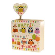 Wooden Music Box - Happy Birthday - Owls Design Ornament Home Decor Gift... - $16.94