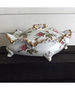 Trinket Box Porcelain Floral Diamond-Shaped with Ruffled Edges (Unbranded) - $24.99