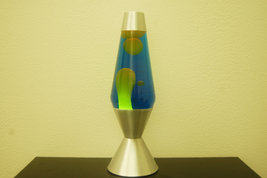 16.3 inch 52oz Lava Brand Motion Lamp Blue Liquid Yellow Wax - $44.95