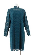 Isaac Mizrahi Lace Mock-Neck Knit Dress Deep Sea Blue XL NEW A343265 - $45.52