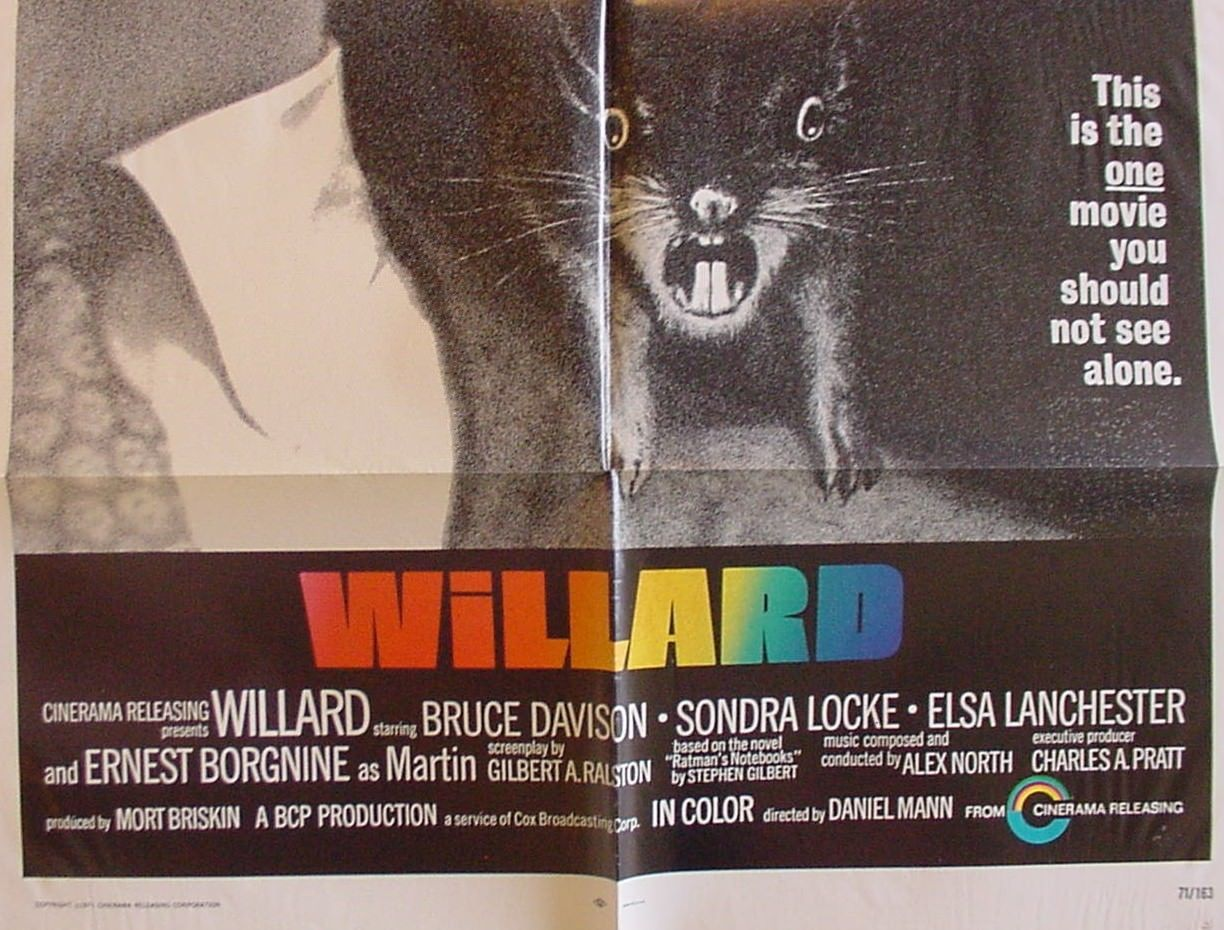 Primary image for WILLARD 1 sh .1971. HISTORIC HORROR - BEN FEATURED - NICE - Elsa Lanchester FN+