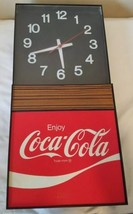 Vintage Coca-Cola Logo Rectangle Wall Clock Red Black White Plug-In - $58.15