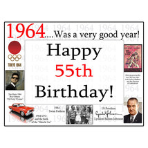 "Happy 55th Birthday (Age 55) ""1964"" Party Supplies HEAVY-DUTY PAPER PLAC... - $18.99"