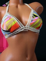 XS VICTORIA`S SECRET Crochet Boho Halter Triangle Top Bikini Geometric 8BG - $32.55