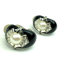 Vintage Black Enamel Clip On Earrings Faux Diamond Pearl Cuff Stunning - $16.79