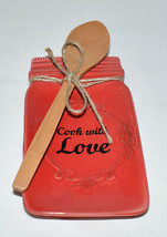 Mason Jar Spoon Rest Red Porcelain Spoon Rest w Wooden Spoon COOK WITH L... - $17.95