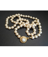 Vintage Talbots Signed 30 inch Ivory Glass Pearl Necklace with Gold Plat... - $9.60