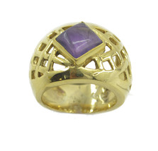 charming Amethyst Gold Plated Purple Ring india US gift - $7.04