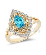 Enchanted Disney Aladdin Pear-Shaped Swiss Blue Diamond Arabesque Frame ... - £62.98 GBP