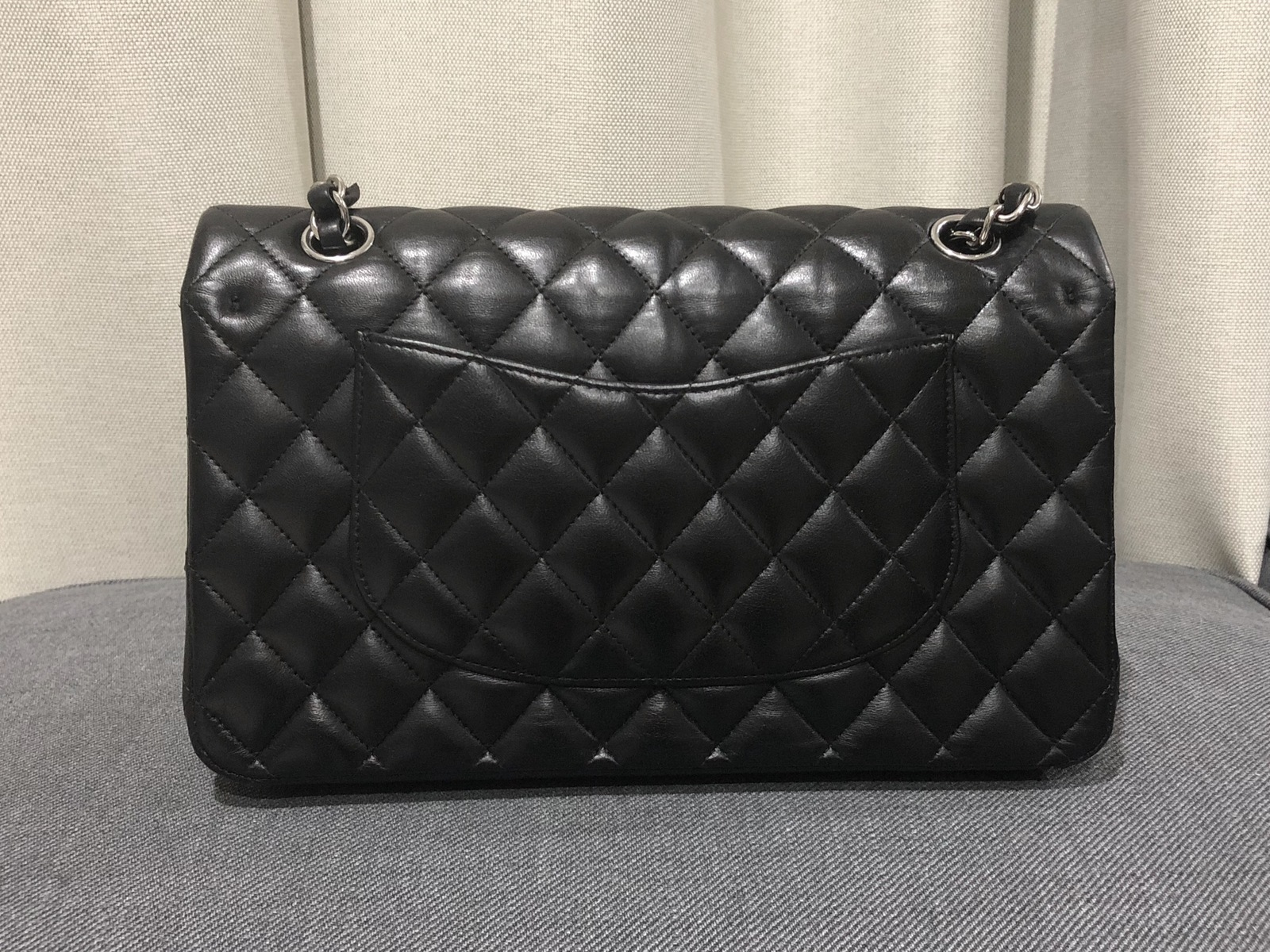 cf364561764d90 100% Authentic Chanel BLACK QUILTED LAMBSKIN MEDIUM CLASSIC DOUBLE ...