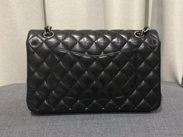 100% Authentic Chanel BLACK QUILTED LAMBSKIN MEDIUM CLASSIC DOUBLE FLAP BAG SHW image 12