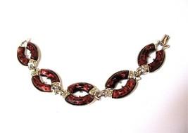 CORO Bracelet, Lucite Oval Links, Dark Red Lucite, Silver Foil, 1960's, ... - $22.50