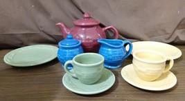 Longaberger Pottery Woven Traditions MINI MINIATURE TEA PARTY SET 11 Pc ... - $119.95