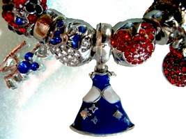 Red & Blue Mickey Mouse & Minnie Disney Cinderella Princess 11 Charms Br... - $72.98
