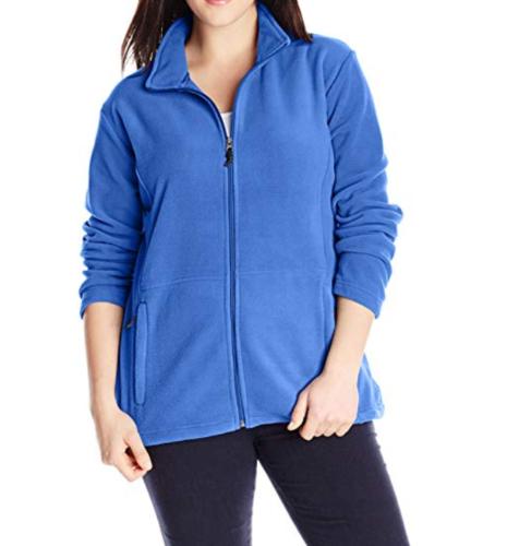 2X Women's Plus White Sierra Mountain Jacket Fleece Full Zip 20w/22w