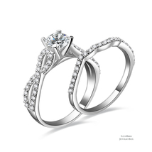 0.75ct Round Cut Infinity 925 Sterling Silver Cubic Zirconia Engagement Ring Set - $52.56